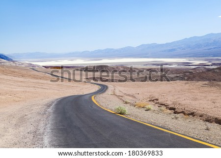winding road Artists drive in the Death Valley - stock photo