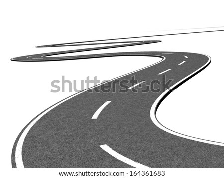 Winding road going far away - stock photo