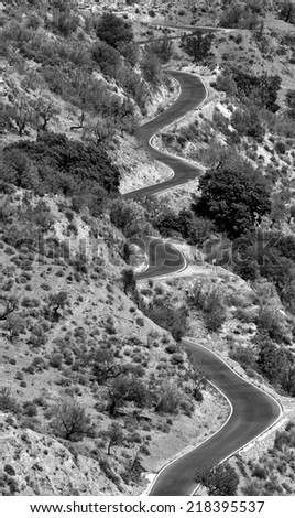 winding road in the Alpujarra, Spain - stock photo
