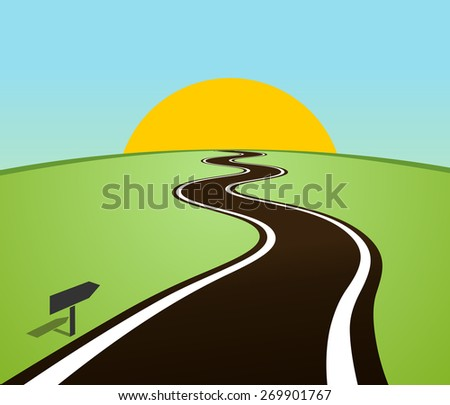 Winding road in the field over the horizon. Sun over the hill - stock photo
