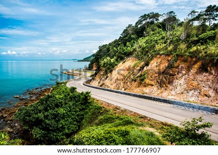 Winding Road In The Mountains Along The Coast - stock photo