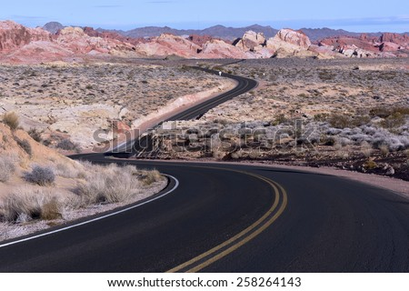 Winding road in Valley of Fire State Park, Nevada. - stock photo