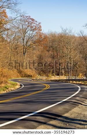 Winding road in Virginia - stock photo