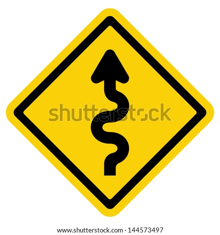 Winding Road Sign - stock photo