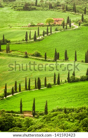 Winding road to agritourism in Italy on the hill, Tuscany - stock photo