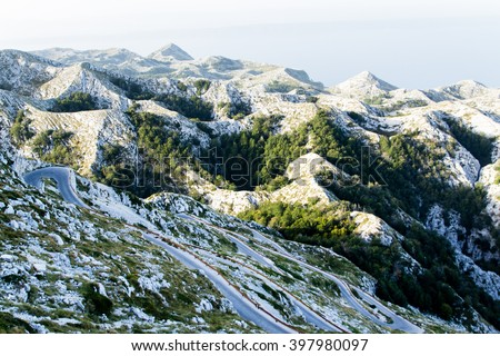 Winding road to sv. Jure peak in Biokovo mountains - stock photo