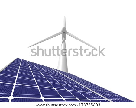Windmill and solar panel - stock photo
