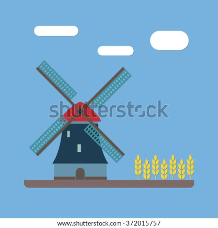 Windmill and wheat ears. Mill symbol. Agriculture landscape. Colorful illustration in flat style. - stock photo