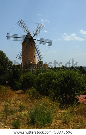 windmill at mallorca Balearic Islands Spain - stock photo