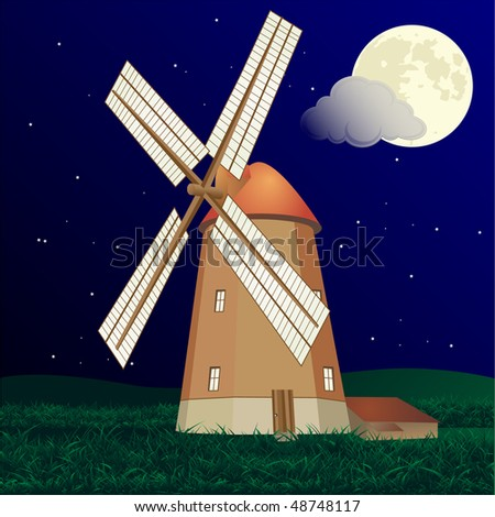 Windmill at night - stock photo
