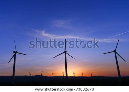 Windmill at sunrise, Palm Springs, CA - stock photo