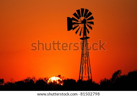Windmill at Sunset - stock photo