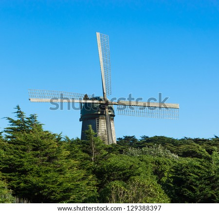Windmill at the Coast of Pacific in San Francisco - stock photo