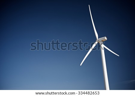 Windmill for electric power production, Zaragoza Province, Aragon, Spain. - stock photo