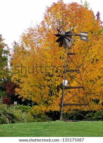 Windmill in Autumn - stock photo