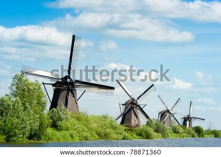 Windmill landscape at Kinderdijk near Rotterdam The Netherlands - stock photo