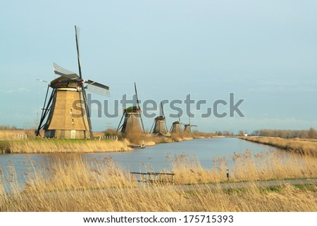 Windmill landscape in the winter at Kinderdijk (the Netherlands) - stock photo