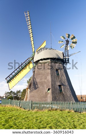 Windmill on Amrum in Germany - stock photo