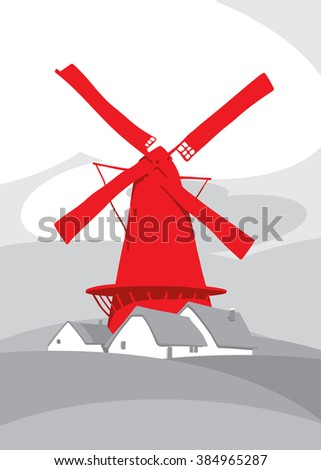 Windmill on the background of natural landscape - stock photo