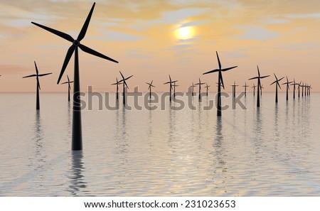 Windmill park at sunset - stock photo