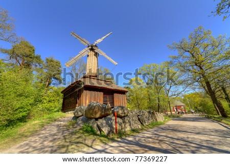 Windmill,Skansen,Stockholm,Sweden - stock photo