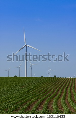 windmill turbines on a farm - stock photo
