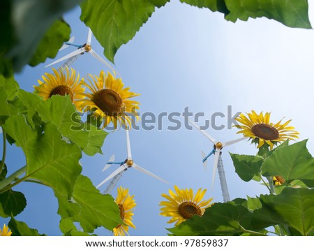 Windmill with sunflowers and pure fresh air - stock photo