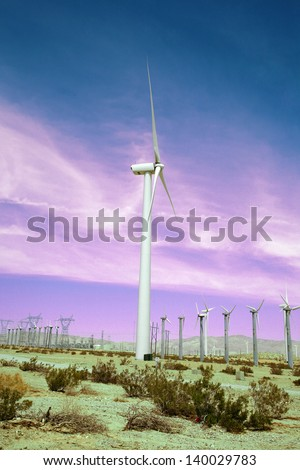 """Windmills AKA """"Wind Turbine"""" or """"Wind Farm"""" with windmills in the desert of Palm Springs in Southern California - stock photo"""