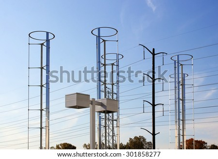 Windmills and Power Grid  - stock photo