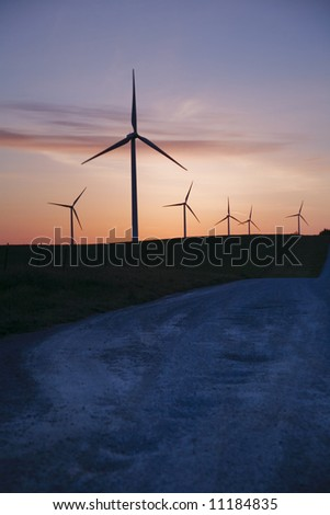 windmills and road - stock photo