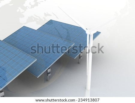 Windmills and Solar Panels on globe background. Alternative Energy Concept. - stock photo