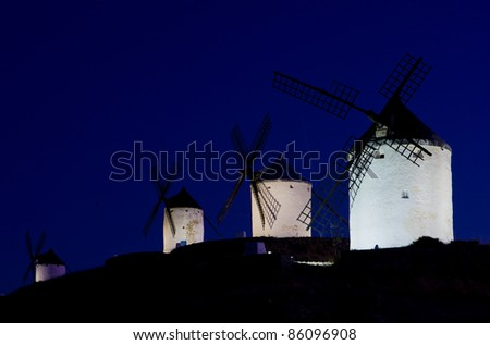 windmills at night, Consuegra, Castile-La Mancha, Spain - stock photo