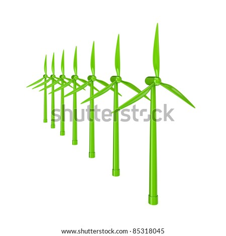 Windmills.3d rendered.Isolated on white background. - stock photo