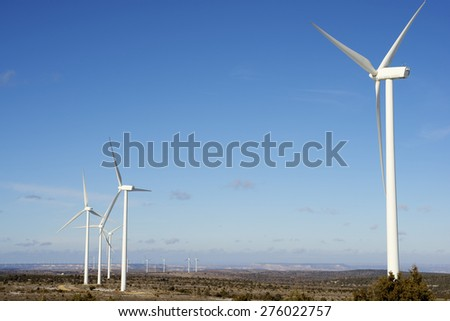 Windmills for electric power production, Maranchon, Guadalajara Province, Castilla La Mancha, Spain - stock photo