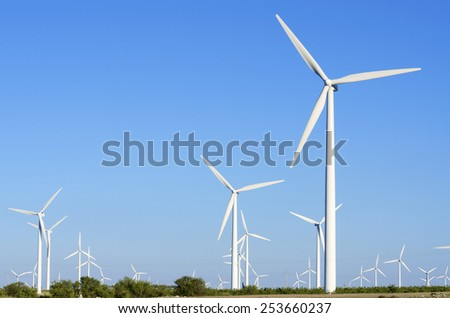 windmills for  electric power production, Zaragoza Province, Aragon, Spain. - stock photo