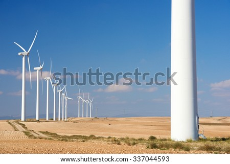 Windmills for electric power production, Zaragoza province, Aragon ...