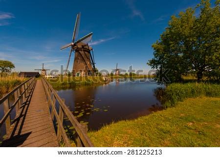 Windmills Holland - stock photo