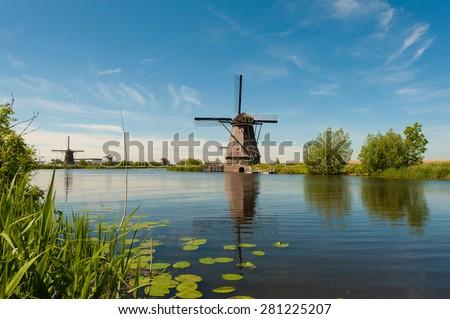 Windmills Holland (Netherlands) - stock photo
