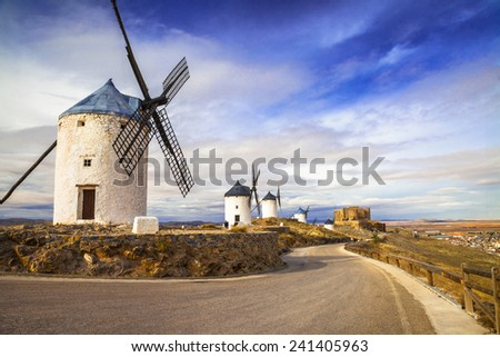 windmills of Don Quixote. Cosuegra, Spain - stock photo
