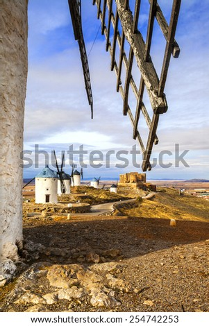 windmills of Don Quixote, Spain - stock photo