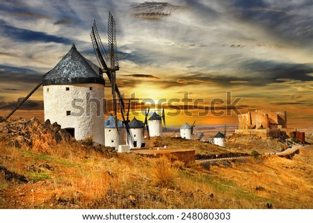 windmils of Spain, Castilla la mancha - stock photo