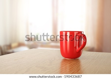 window and morning tea  - stock photo