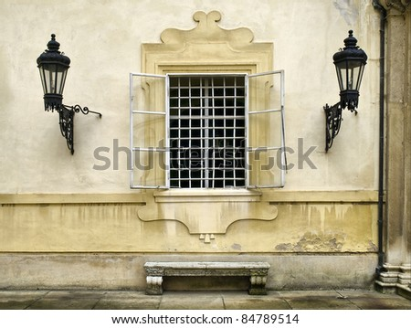 window and two old lantern - stock photo