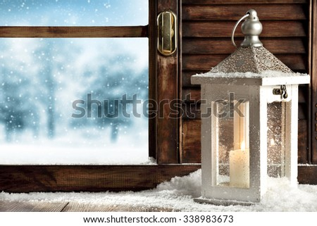 window and white lamp  - stock photo