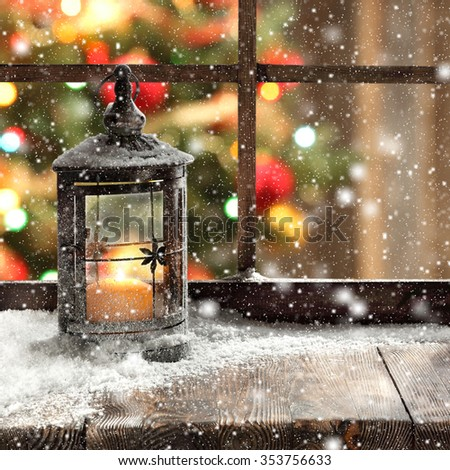 window and xmas lamp  - stock photo