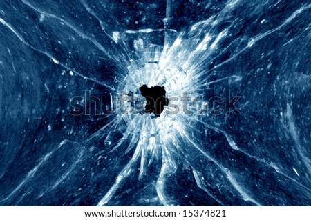 Window bullethole - stock photo