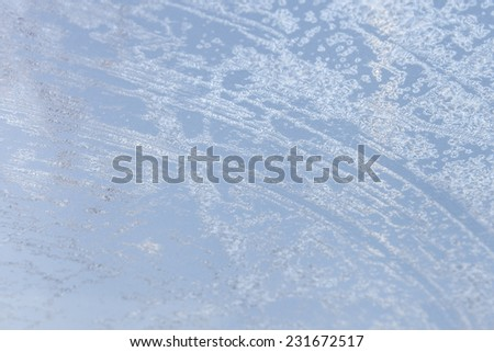 Window car covered with frost stranded on cold mornings - stock photo