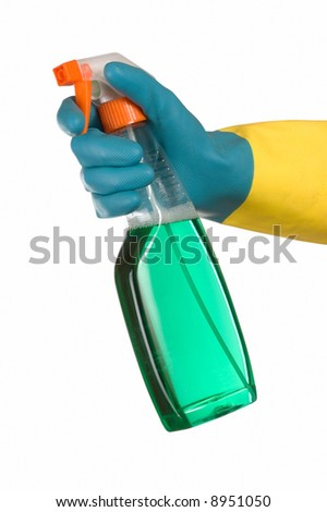 Window cleaner in hand - stock photo