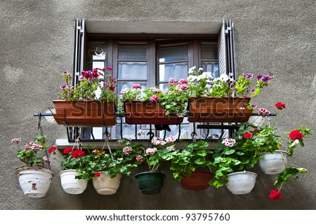 Window Decorated with Flowers in Southern France - stock photo