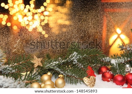 Window decorations at Christmas time - stock photo
